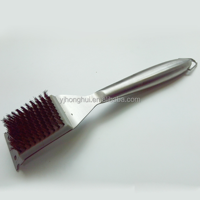 stainless steel handle bbq grill cleaning brush
