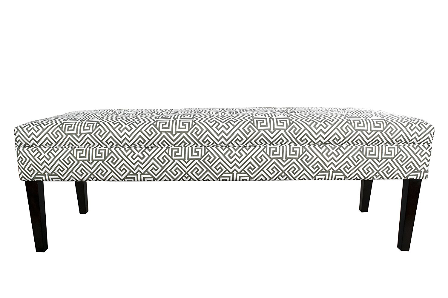 MJL Furniture Designs Kaya Collection Upholstered and Padded Button Tufted Accent Bedroom Bench, Santorini Series, Summerland Gray