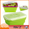 hot elegant square food Collapsible Lunchboxes set with utensil and custom silicone collapsible lunch box