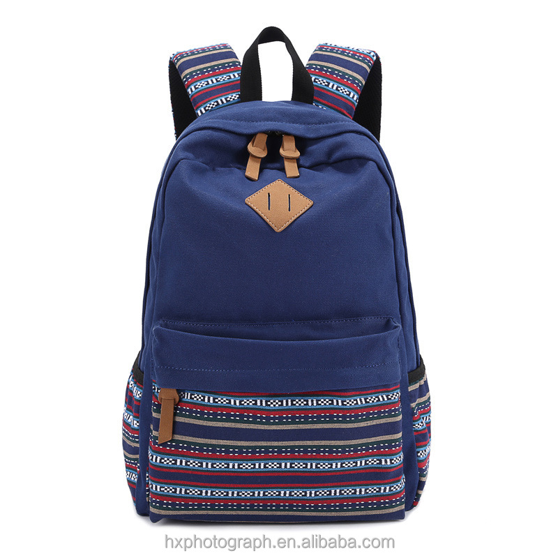 Factory Direct Sale Ethnic Canvas Travel Backpack Shenzhen Supplier