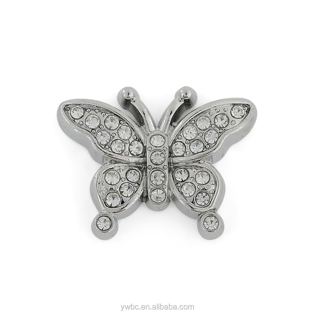 Promotion Animal Butterfly Shape Silver Crystal Pave Jewelry Charms for Jewelry Making