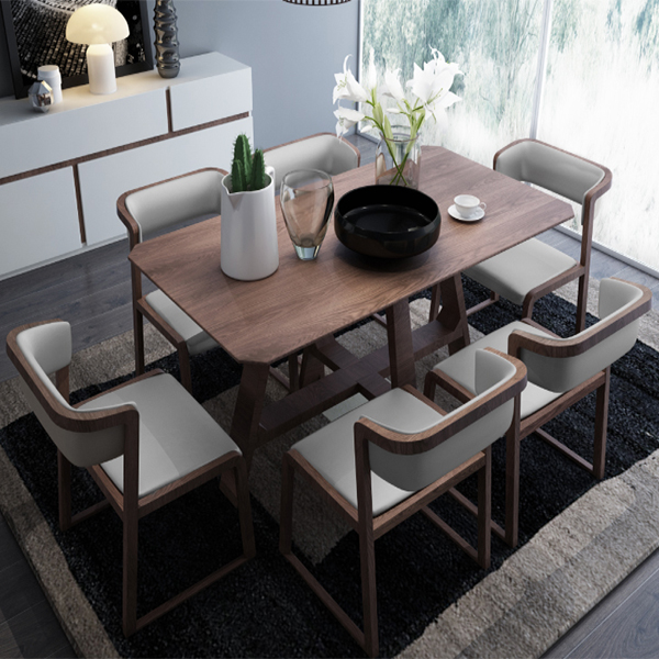 Top Quality Nordic Style Elm Wood Dining Table Set Solid 6