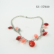 China wholesale metal chain necklace with red acrylic and metal silver bead