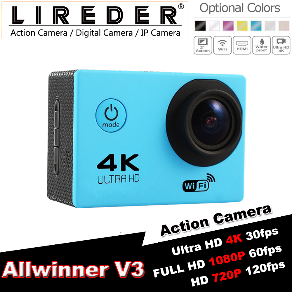 "LIREDER Original Action camera F60 Allwinner V3 4K 30fps 1080p 60fps WiFi 2.0"" Helmet Cam waterproof Sports camera"