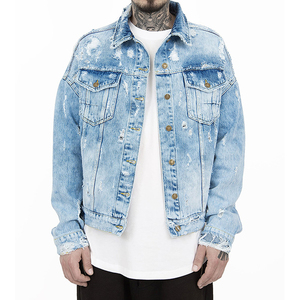 Wholesale slim boyfriend ripped denim bomber trucker jackets 2019 men's motorcycles fitted destroyed jean jacket