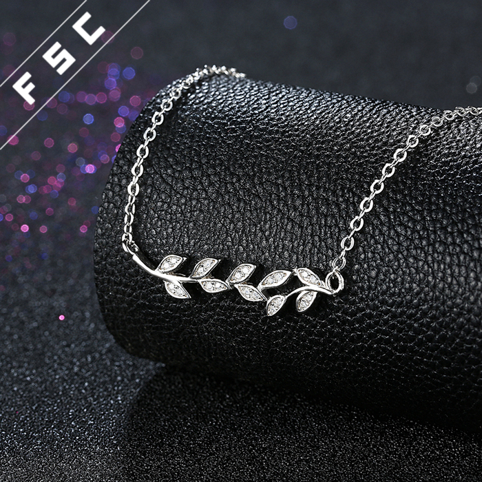 Hot sale white gold plated olive branch leaf shaped pendant 925 silver wedding necklace for women