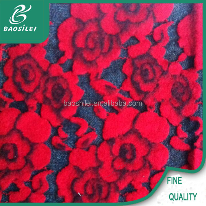 Fashion new design red rose lace fabric use the saree lace fabric for the egypt lace wedding dress