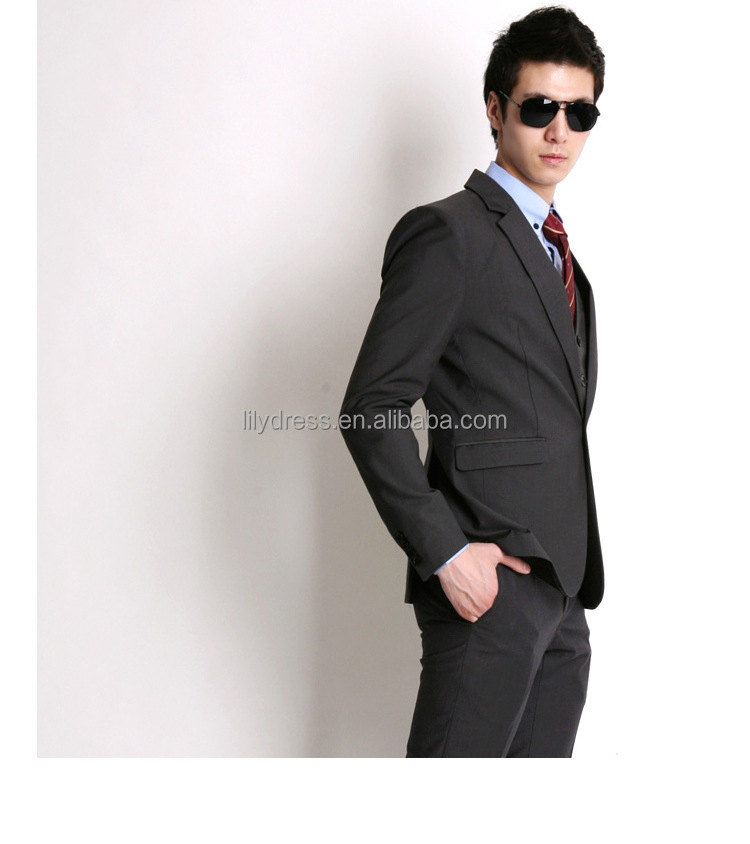 Wholesale Dark Gray Side Vent One Button Bespoke Slim Fit Mens ...