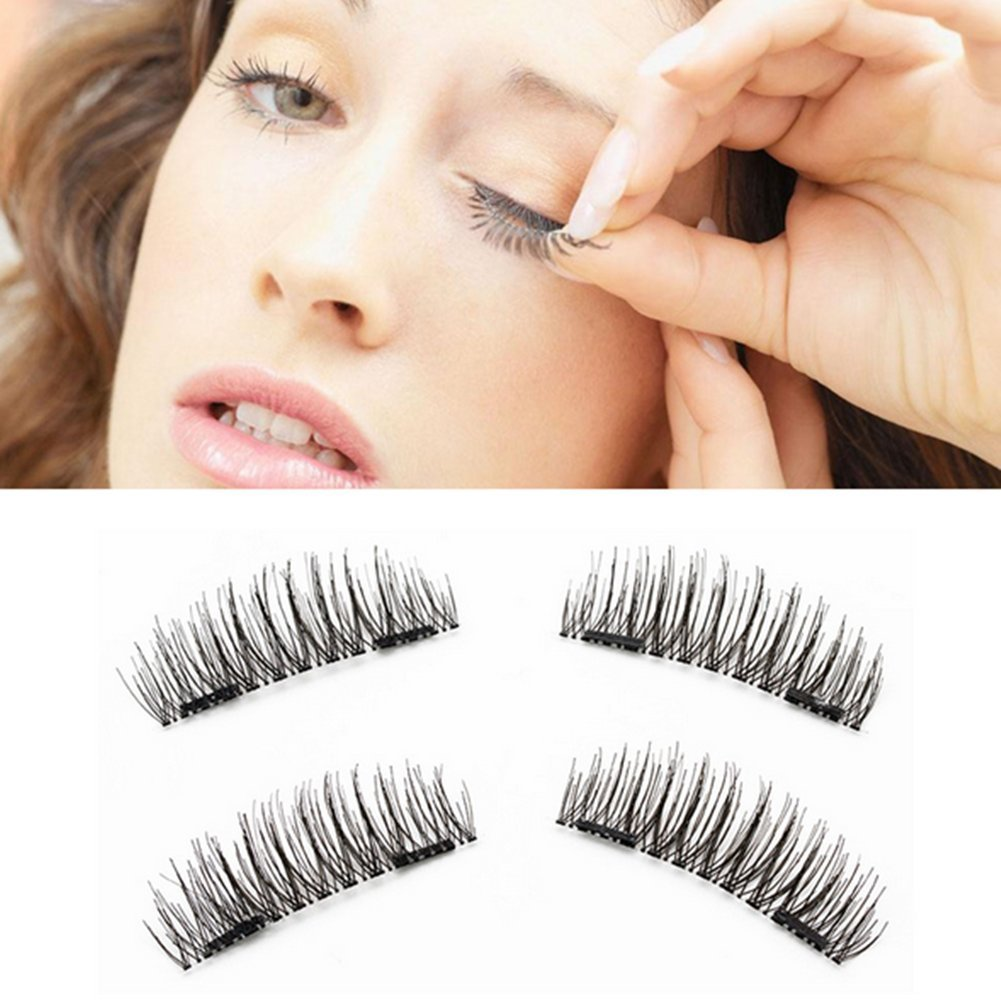 6a4cfee25e5 Get Quotations · Plovex 4pcs/Pair 3D False Eyelashes Double Magnetic  Natural Individual Thicker Cross Fake Eyelashes Magnet