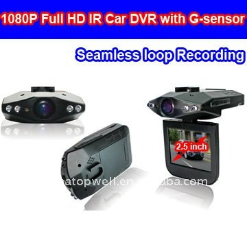 1080P Full HD IR Car DVR with Seamless loop Recording and G-sensor