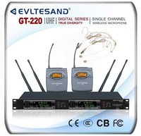 GT220 TWO Channel UHF Wireless Microphone System 2 Headsets
