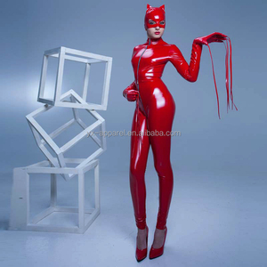 long sleeve spandex catsuit with mask full body red latex catsuit catwoman latex catsuit