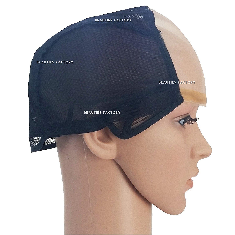 Beauties Factory DIY Wide Gap Mono Top Front U Part Weaving Wig Cap Net Foundation Base Cap