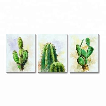 Basit Soyut Baskı Kaktüs çiçek Dekor Akrilik Tuval Boyama Buy