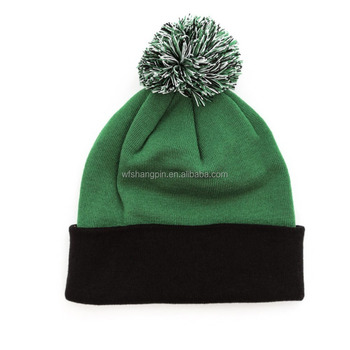 High Quality Cheap Blank Two Tone Beanie Hats with Top Ball Custom Two Tone  Beanie aad7225a077