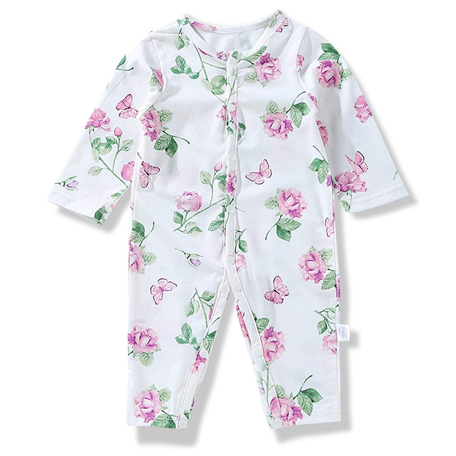 Get Quotations · FanMiGo Baby Girl Pretty Floral Long Sleeve Sleeper  Jumpsuit c5b14b949