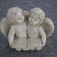 "8.5"" Heavenly Gardens Distressed Ivory Sitting Angel with Book & Friend Outdoor Patio Garden Statue figurine"