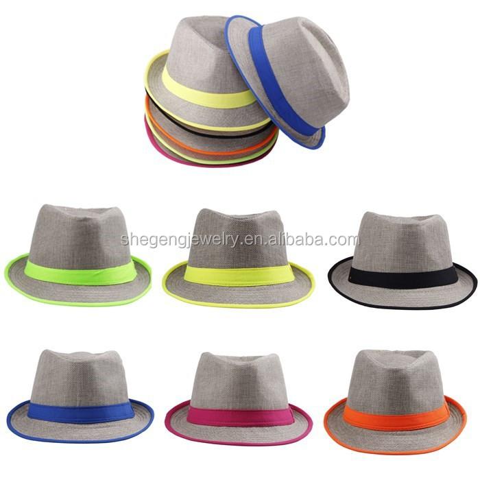 953e6f700996a Women Men Neon Strip Straw Boho Fedora Beach Panama Hat - Buy Neon Strip  Straw Boho Fedora Beach Panama Hat