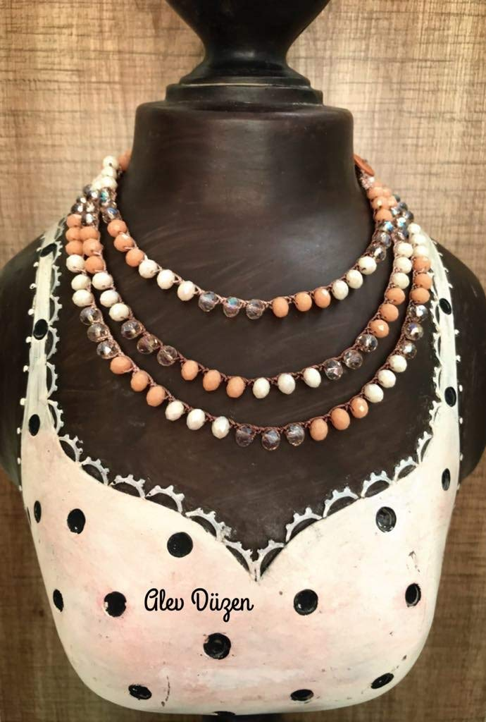 21fb2dd5e835 Get Quotations · Brown colors Crochet wrap necklace ~ Boho yoga jewelry