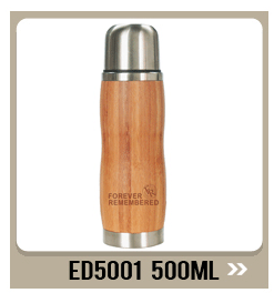 ED5009 280ML/9OZ Double Wall Out Bamboo Inner Stainless Steel Vacuum Insulated Bottle