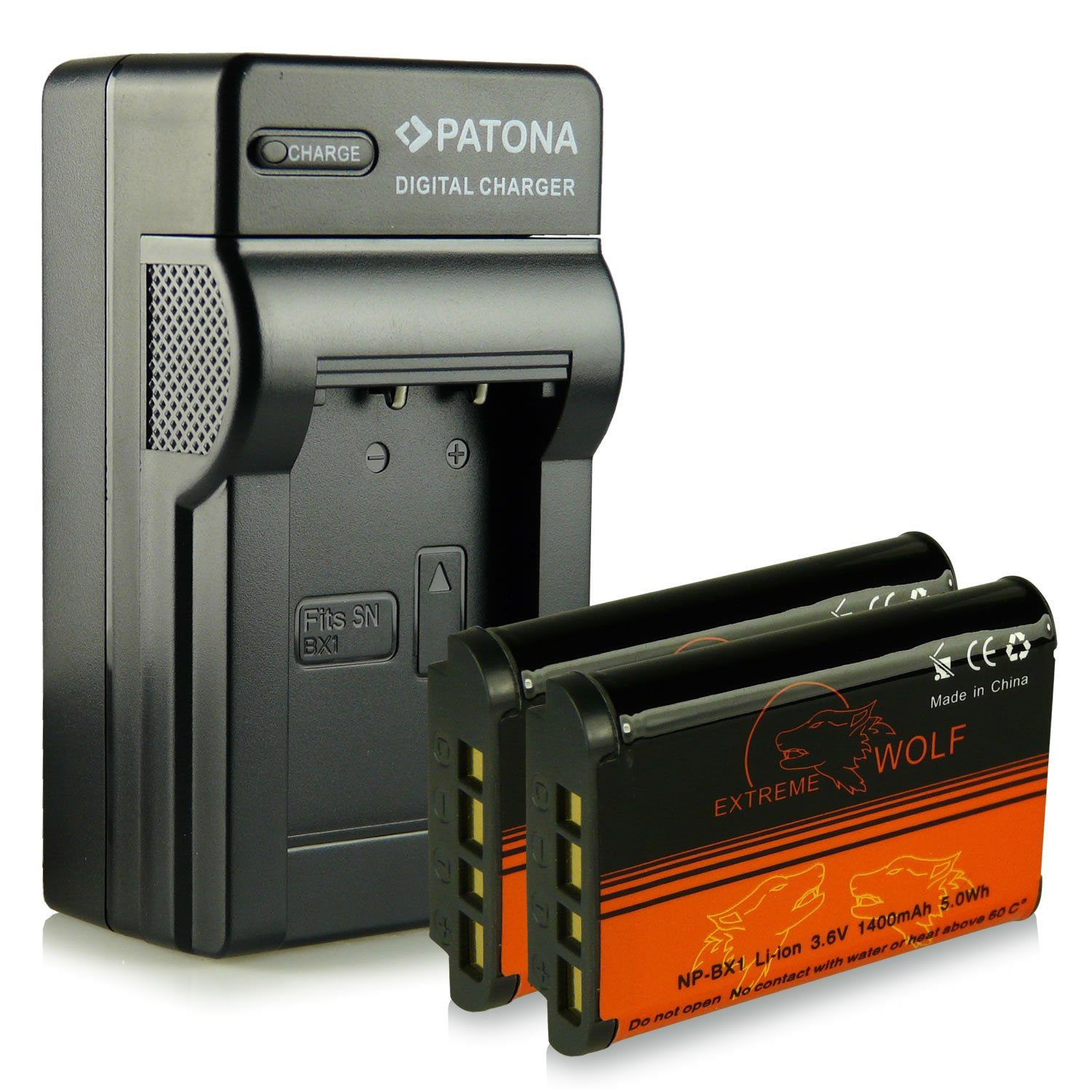 Bundle - Charger + 2x Battery NP-BX1 with Infochip · 100% compatible with Sony CyberShot DSC-HX50 / HX50V | DSC-HX300 | DSC-RX1 / DSC-RX1R | DSC-RX100 / DSC-RX100 II | DSC-WX300 | HDR-AS15 | HDR-GW66 | HDR-GWP88