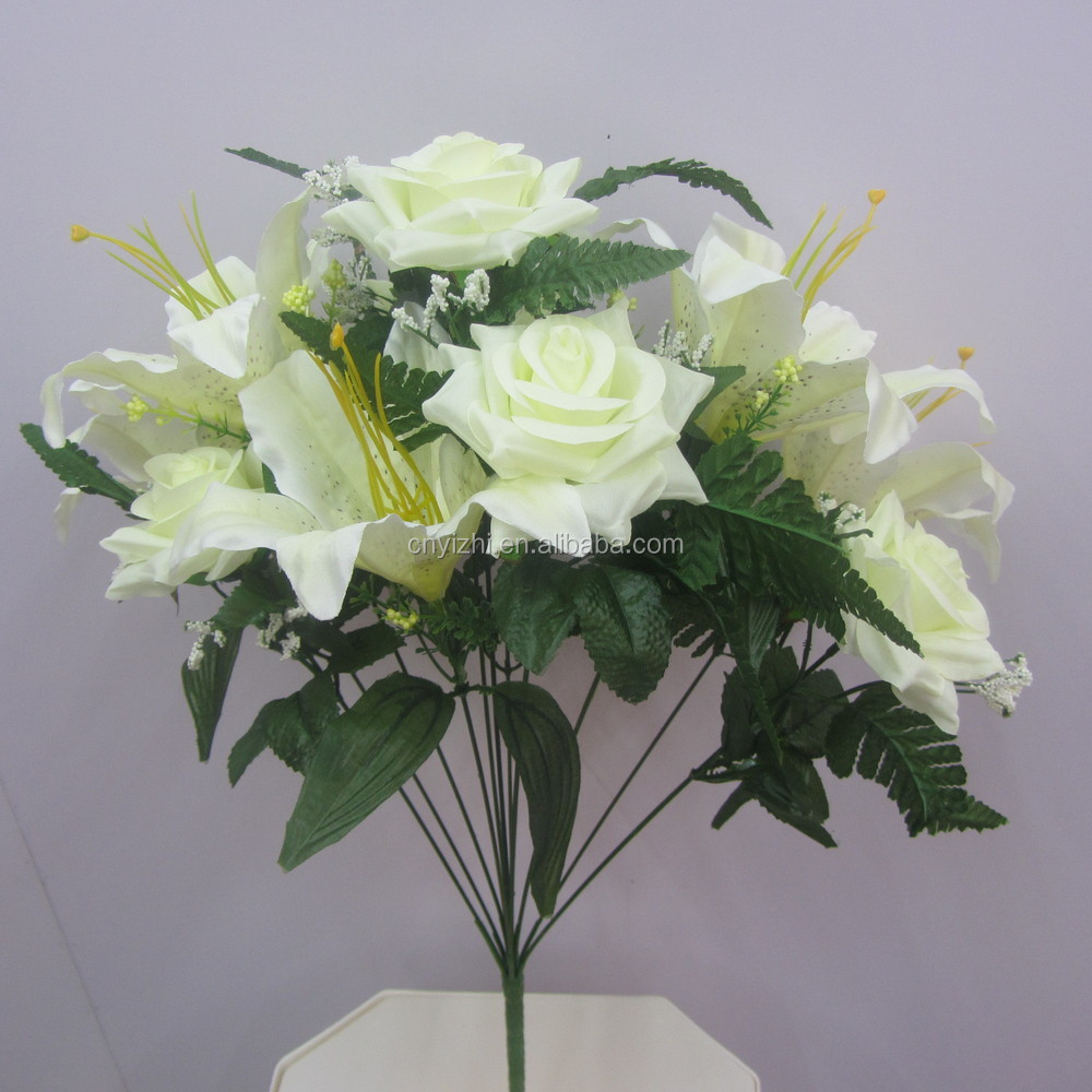 Real touch artificial flower rose lily bouquet single fake flower real touch artificial flower rose lily bouquet single fake flower rose wholesale lily flower with 10 izmirmasajfo