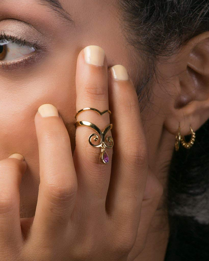 Boho Midi Knuckle Ring Set, 24k Gold Plated Indian Style Stacking Rings, One is Inlaid with an Amethyst Gemstone, Handmade Statement Jewelry