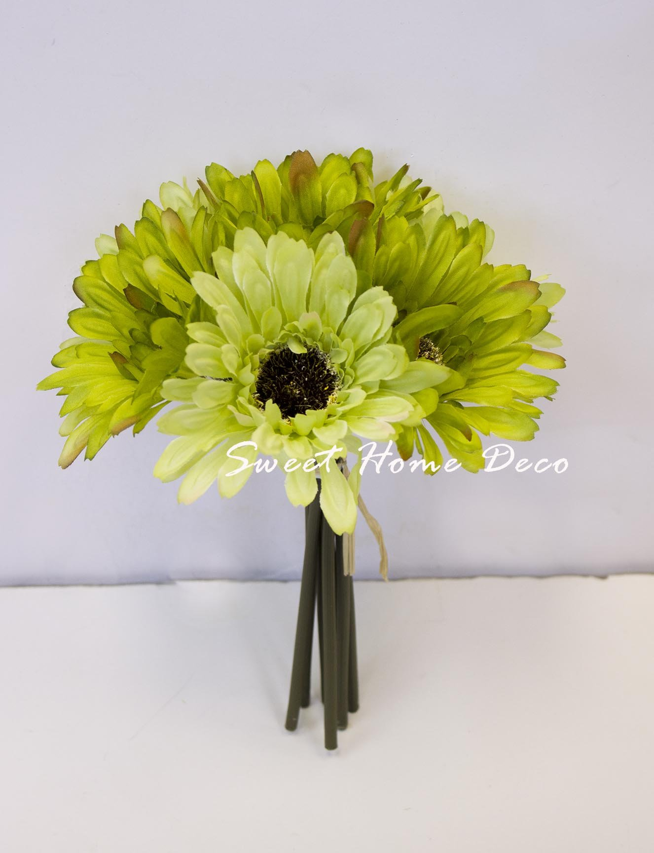 Buy floristrywarehouse artificial silk flower lime green rose amp sweet home deco 8 silk artificial gerbera daisy flower bunch w 7stems 7 flower heads homewedding new colors lime green mightylinksfo