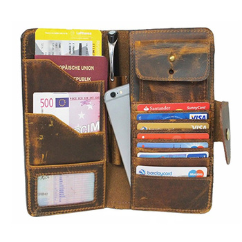 be4c35a76b63 Vintage Leather Travel Wallet For Men Women Genuine Leather Organizer Id  Card Holder,High Quality Leather Passport Holder - Buy Leather Travel ...