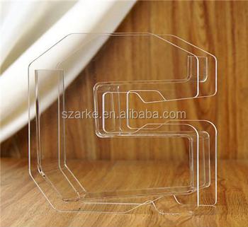 Alphabet Letter G Shaped Design Mini Clear Desktop Acrylic Fish Tank Aquarium Flower Vase