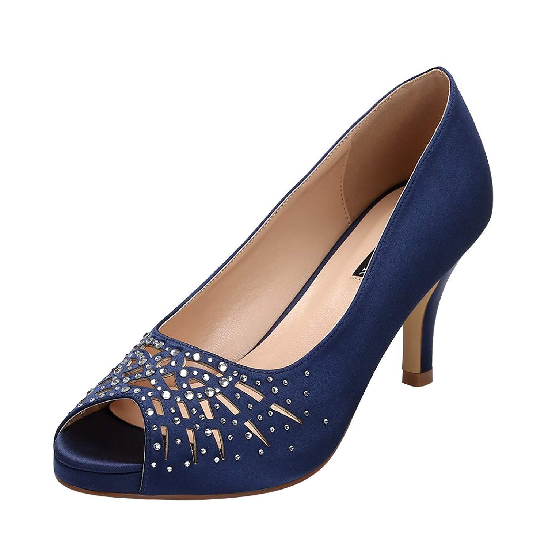 ERIJUNOR Women Peep Toe Comfort Low Heel Platform Rhinestones Satin Wedding Bridal Evening Dress Shoes