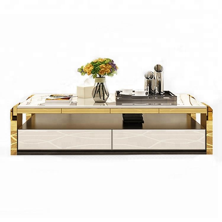new model modern stainless steel white coffee tea <strong>table</strong> living room furniture design wooden square marble top tea coffee <strong>table</strong>