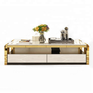 new model modern stainless steel white coffee tea table living room furniture design wooden square marble top tea coffee table