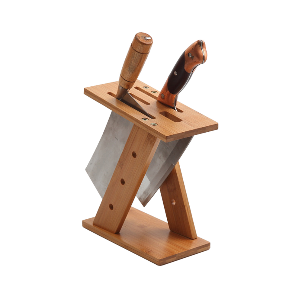Kitchen storage rack bamboo knife Organizer, space-saving holder Tools Rest knife block frame