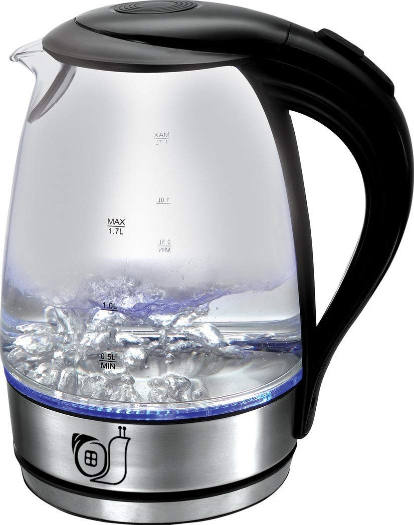 Glass Electric Kettle 1.8 Liter. Borosilicate Glass, Automatic Locking Mechanism, LED Indicator Light, Speed Boil, Auto Shut-Off, Boil-Dry Protection, BPA Free, Cordless, Rotation 360°, Noiselessness, Dimensional Divisions. ETL Certified.