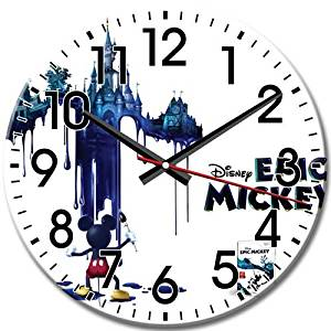 Quiet Sweep Disney Epic Mickey Frameless Quiet Arabic Numbers High-definition Round Wall Clock 10 Inch / 25 cm Diameter