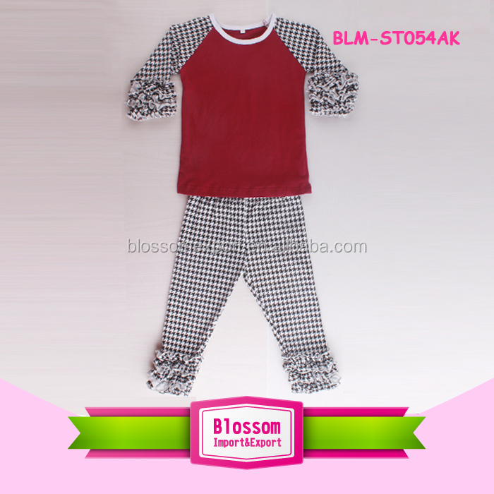 2017 Boutique Clothing Baby Raglan Ruffle Shirts and Pants Set Houndstooth Ruffle Girl Outfits