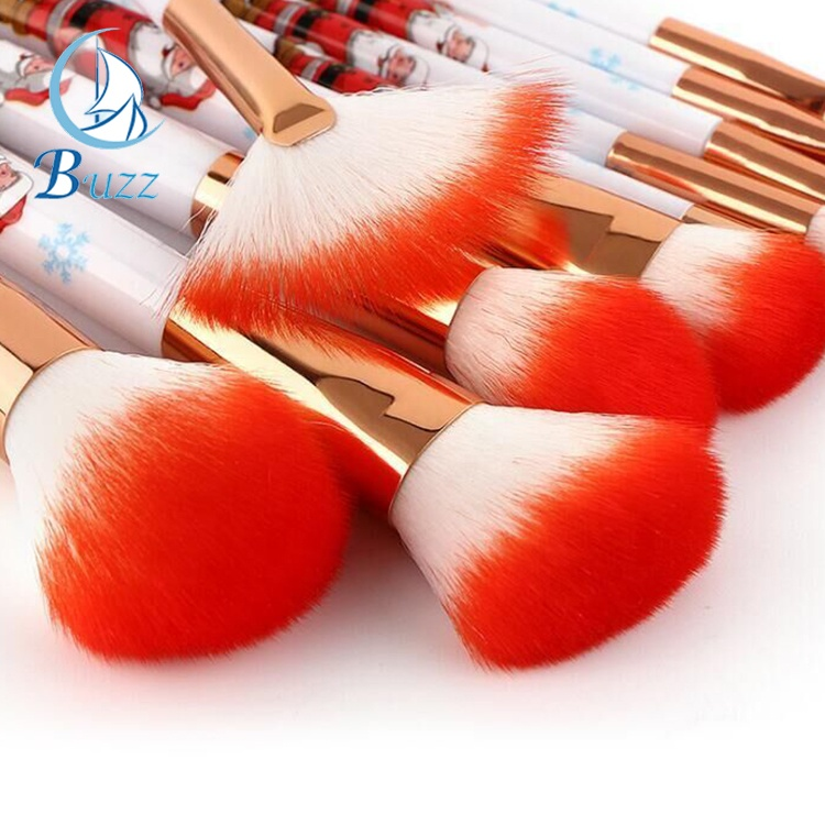 New Design Santa Custom Personalized Professional Gift 10pcs Christmas Makeup Brushes set