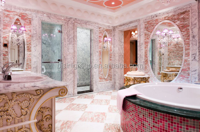 Professional 3D Rendering Interior Design of Classic Royal Rococo Style  Pink Bathroom for Ladies BF12,06304e, View rectangular bathroom designs,