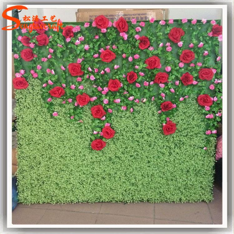Stylized Plastic Artificial Grass Wall Artistic Romantic