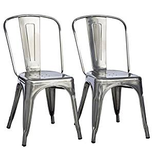 Get Quotations · Tabouret Mid Century, Bistro Gunmetal Dining Chairs Is  Stackable For Space Saving Storage (