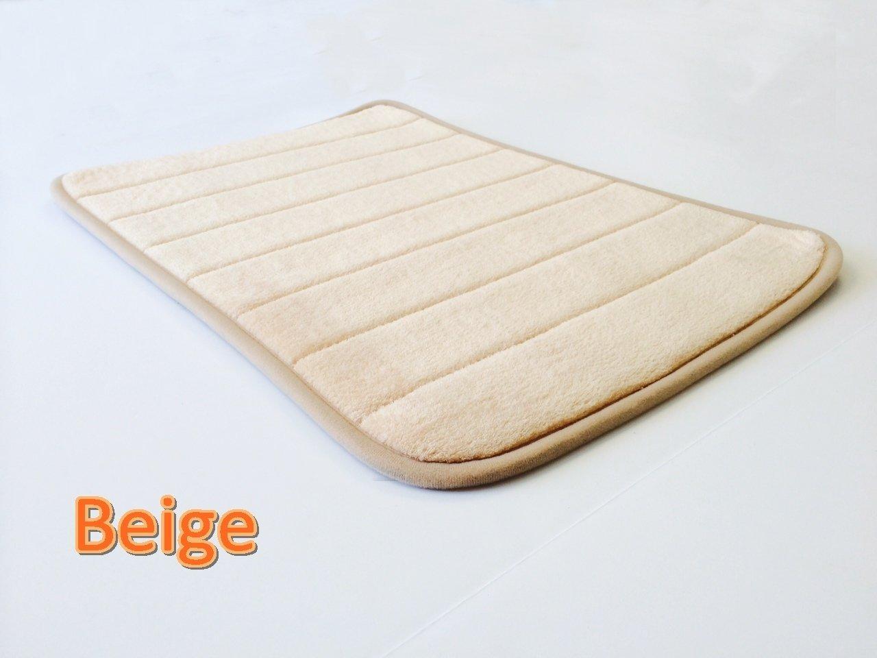 eConsumersUSA 24''x17'' Peach Beige MicroPlush Anti Skid Comfort Luxurious Memory Foam Bath Mat Rug