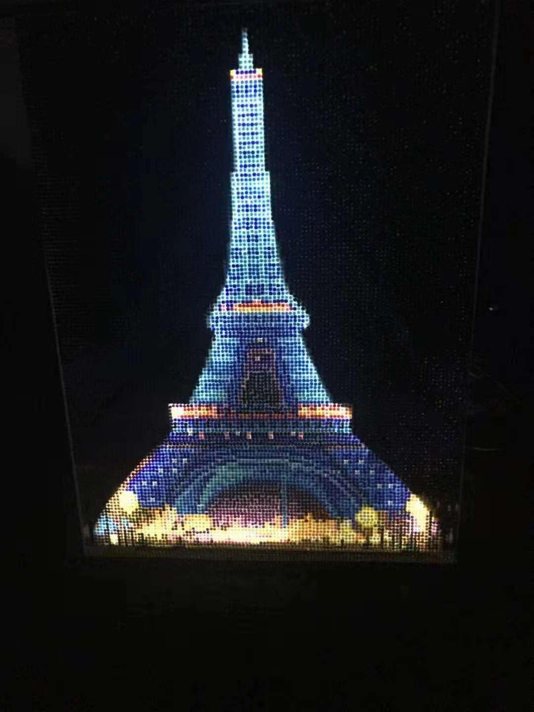 Eiffel Tower Led Light Diamond Painting Round Drill On