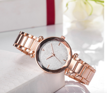 custom logo fashion watch, Gold Stainless Steel Band 3 hands Watch Women Business Special Style Richports