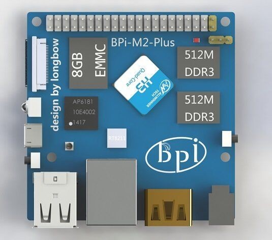 Factory price of 1Ghz ARM7 quad-core processor Banana Pi BPI-M2 plus. use Alliwnner H3 chip support WiFi on board.