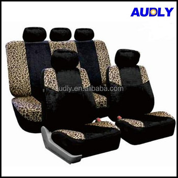 HY S3010 Leopard Print Airbag Safe Velour Car Seat Covers Cheetah