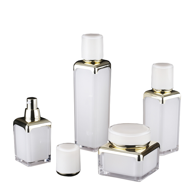 Fashion Cosmetics Packaging Golden 30g 50g Cream Jar 15ml 30ml 50ml Square Pump Acrylic Lotion <strong>Bottle</strong>