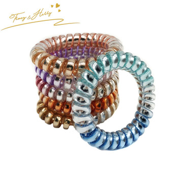 Modern style multi color plastic wire fabric coils elastic curly hair tie e9a263ddb1c