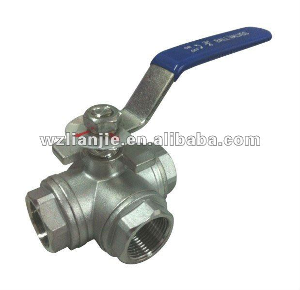 "3/4"" CF8M Stainless Steel 3 Way Ball Valve Screwed Ends"