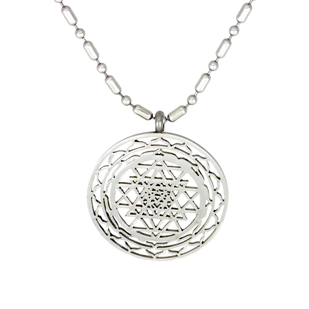 High Quality Large Plate Silver Sri Yantra Pendant Necklace